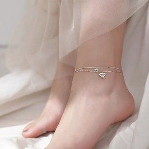 NEW 925 Sterling Silver Diamond Heart Layer Anklet